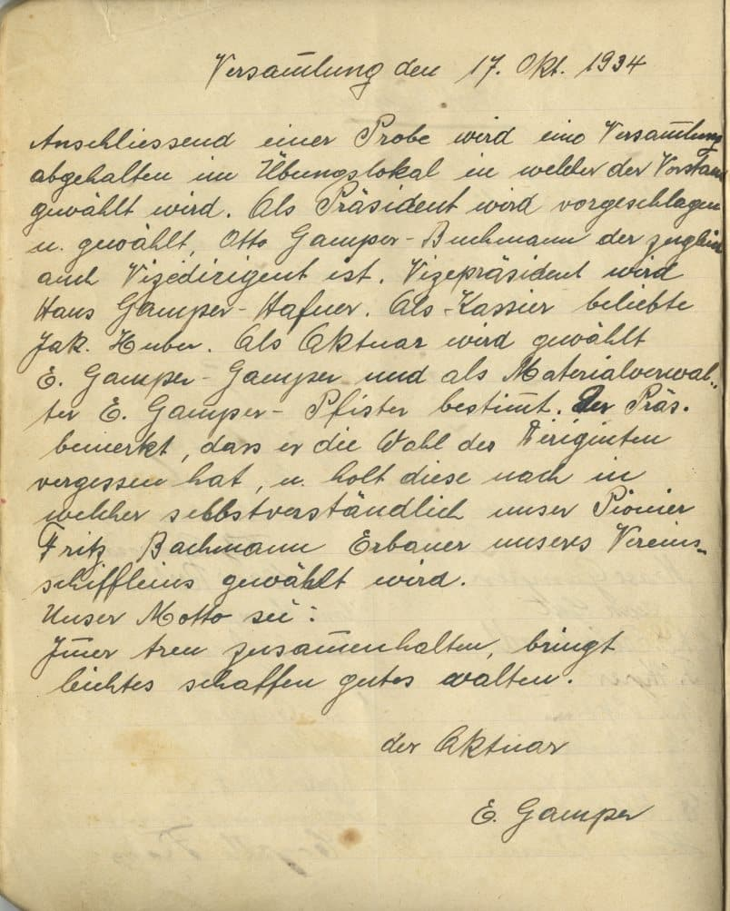Gründung Musikverein Edelweiss Stettfurt