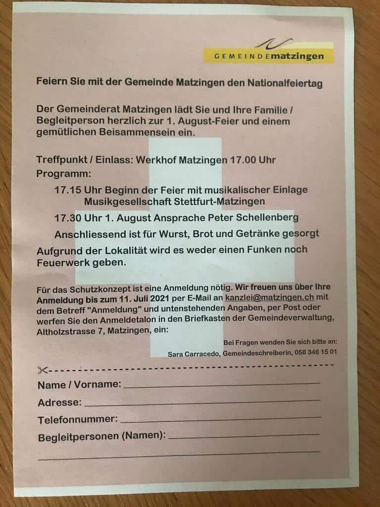 Flyer Bundesfeier Matzingen